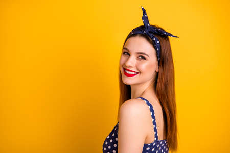 Profile photo of beautiful lady red lipstick overjoyed wear casual dotted dress headband isolated bright yellow background