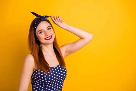 Photo of beautiful lady red lipstick fix hair wear casual dotted tank-top dress headband isolated vivid yellow background
