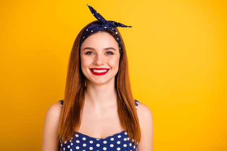 Close up photo of beautiful foxy lady red lipstick wear casual dotted tank-top headband isolated vivid yellow background