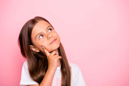 Closeup photo of small lady brown hair minded deep thinking curious interested wear overall t-shirt isolated pink background Zdjęcie Seryjne