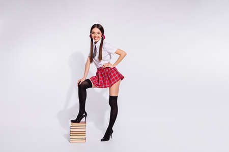 Full length side profile body size photo beautiful she her teacher stand leg book pile diligent student tails return studying wear specs short red checkered costume pantyhose isolated white background