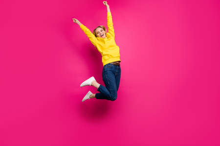 Full body photo of crazy lady jumping high set first place in competition wear casual outfit isolated pink background