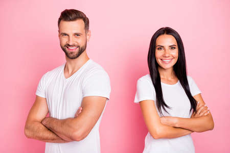 Portrait of his he her she two nice-looking attractive lovely charming content cheerful cheery spouses folded arms new family isolated over pink pastel background