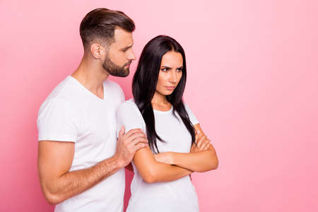 Portrait of his he her she two nice-looking attractive lovely sullen moody spouses folded arms husband supporting wife family isolated over pink pastel background