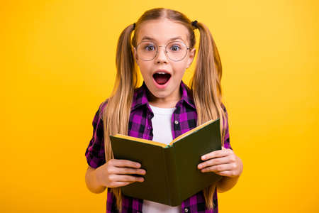 Photo of small lady reading adventure story unexpected final ending wear specs checkered shirt isolated yellow background