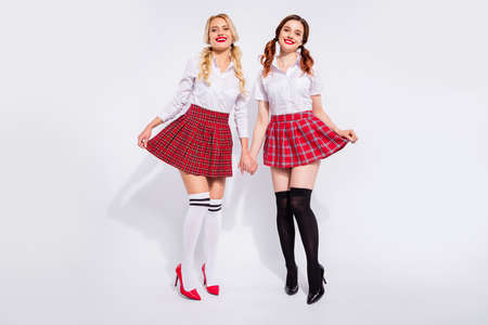 Full size photo of two best friends ladies wear plaid skirts tights isolated white background