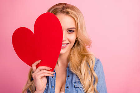 Closeup photo of pretty lady holding large paper heart hands wear denim outfit isolated pink background