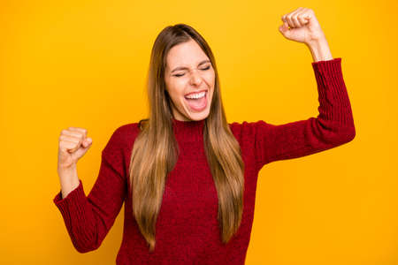 Photo of pretty lady yelling loud rejoicing wear pullover isolated yellow background