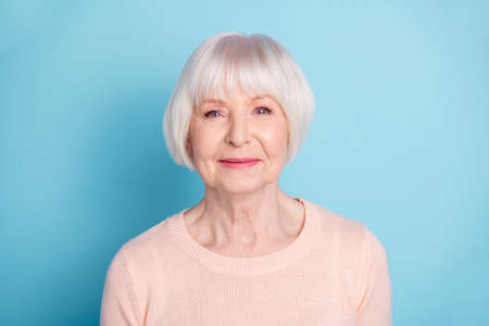 Close-up portrait of her she nice-looking attractive lovely well-groomed content cheery peaceful gray-haired lady isolated over bright vivid shine blue green teal background