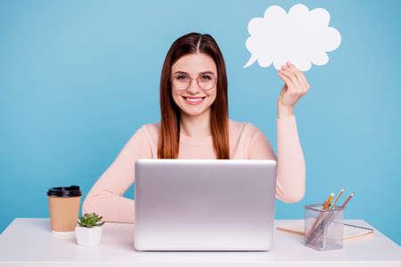 Portrait of nice-looking attractive smart clever girl Imagens