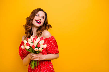 Photo d'une dame portant une robe rouge avec les épaules ouvertes fond jaune isolé
