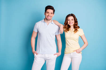 Close-up portrait of nice attractive cool naughty playful couple Stock Photo