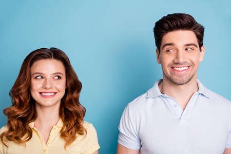 Close-up portrait of nice attractive cool naughty playful couple Reklamní fotografie