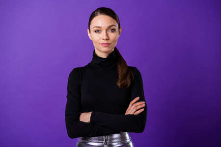 Close up photo of nice pretty lady wearing black turtleneck isolated over purple violet background