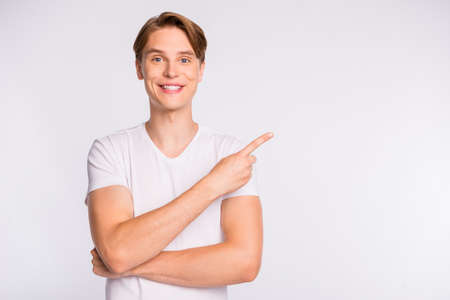 A guy in a casual outfit on isolated white background