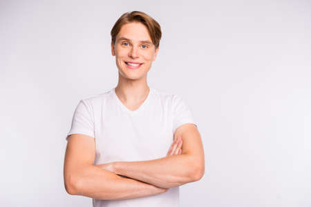 A guy in a casual outfit on isolated white background Imagens