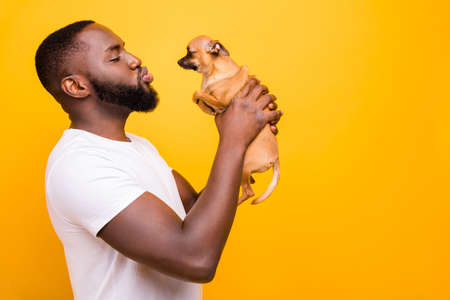 Photo of dark skin guy talking to little pet blowing kisses wear casual outfit isolated yellow background