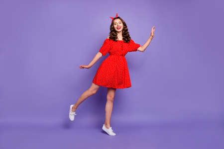 Full size photo of pretty lady seems to be merry princess wear off-shoulders dress isolated purple background