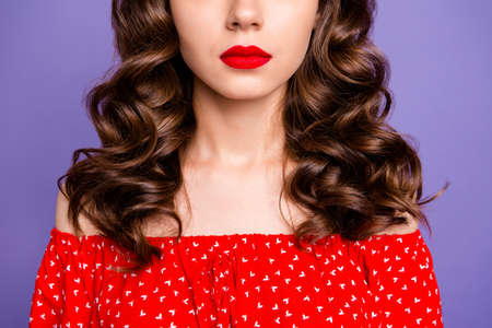 Cropped photo of beautiful lady show plump lips after operation wear red dress isolated purple background