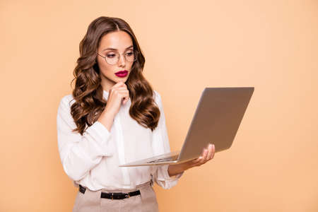 Portrait of her she nice-looking attractive lovely shine perfect gorgeous glamorous content focused intelligent wavy-haired lady working remotely isolated over beige pastel background Stockfoto