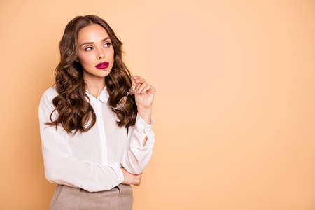 Portrait of her she nice-looking attractive lovely shine pretty professional minded wavy-haired lady real estate agent broker creating solution isolated over beige pastel background