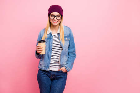 Photo of standing girlfriend wearing jeans with pockets denim striped clothes having break at university while isolated with pastel background