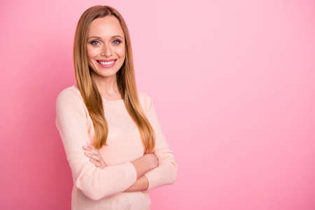 Portrait of charming lady look feel satisfied isolated over pink background