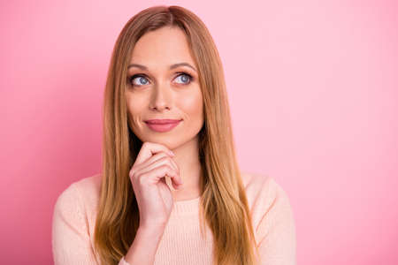 Close up photo of attractive lady look have thoughts touch chin hands palms isolated over pink background Фото со стока - 129219952