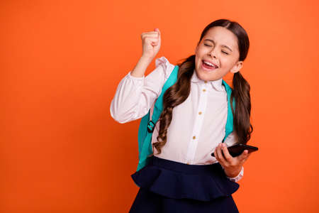 Portrait charming crazy ecstatic little cute kid close eyes raise fists triumph she her champion scream shout yes yeah trendy stylish skirt blouse dress pigtails ponytails isolated orange background