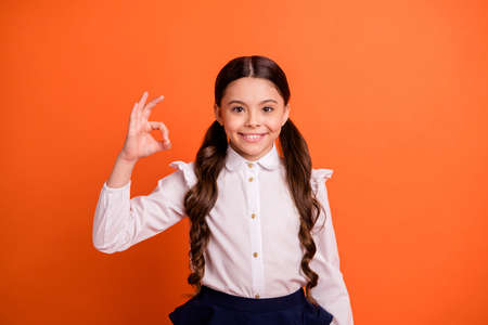 Portrait of nice pretty excited kid wear blouse white fashionable clothing outfit skirt dress feel positive she her isolated orange background