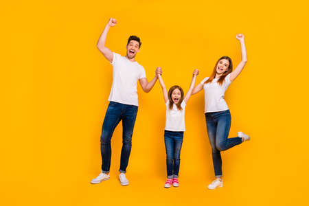 Full length body size view of three nice attractive charming lovely stylish cheerful cheery crazy person having fun weekend great news rejoicing isolated over bright vivid shine yellow background