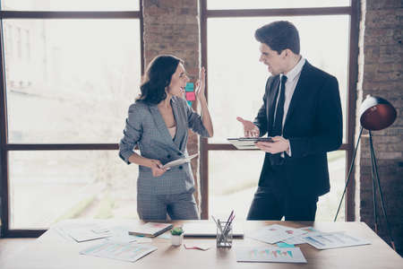Photo of two yelling partners standing workshop office dressed formal wear suits