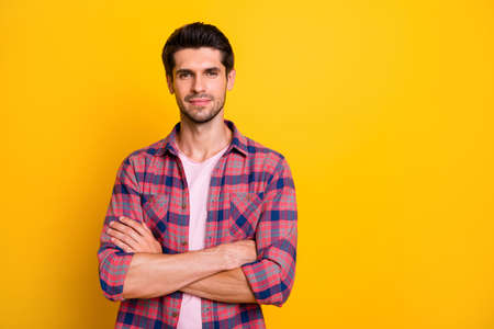 Photo of confident person taking part in creating business project that will glorify him while isolated with yellow background