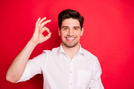 Close-up portrait of his he nice attractive lovely cheerful cheery glad positive content guy showing pk-sign isolated over bright vivid shine red background