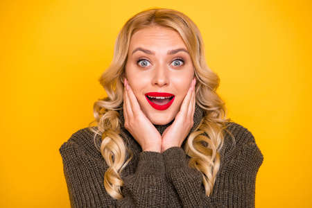 Photo of amazing positive lady listening unexpected great news wear warm sweater isolated yellow background Stock Photo - 129250759
