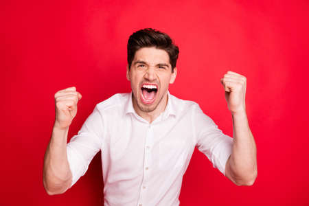 Close-up portrait of his he nice attractive miserable devastated guy showing negative bad crazy mood emotion fight isolated over bright vivid shine red background