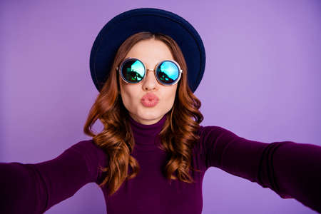 Close up photo of classy person make photo video call live send air kisses isolated over purple violet background