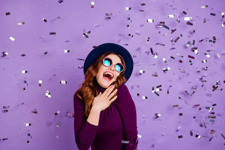 Portrait of childish student screaming touching chest wearing eyewear eyeglasses event isolated over purple violet background 写真素材