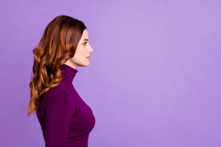 Profile side photo of concentrated lady looking isolated over purple violet background