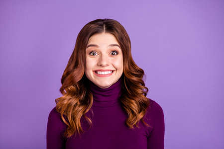 Close-up portrait of her she nice-looking attractive lovely girlish funny cheerful cheery positive optimistic wavy-haired girl isolated over bright vivid shine purple violet lilac background