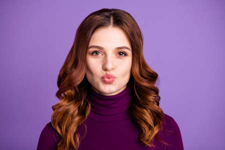 Close-up portrait of her she nice-looking attractive lovely lovable sweet cheerful cheery wavy-haired lady sending kiss isolated over bright vivid shine purple violet lilac background