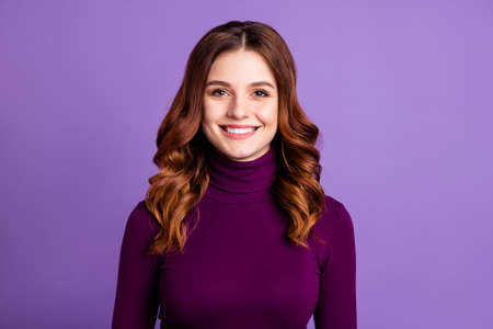 Close-up portrait of her she nice-looking attractive lovely lovable cheerful cheery wavy-haired lady isolated over bright vivid shine purple violet background Stock Photo