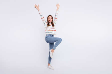Full length photo of wild lady yelling hooray at student party wear striped pullover isolated white background