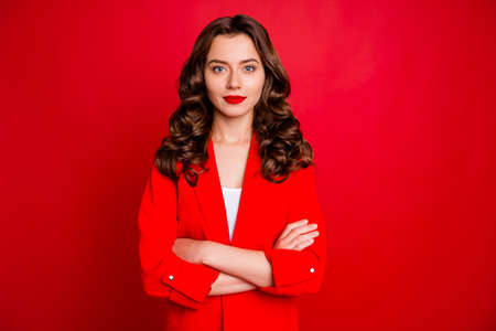 Photo of amazing business lady with crossed arms dressed formal wear red jacket isolated burgundy background Stock Photo