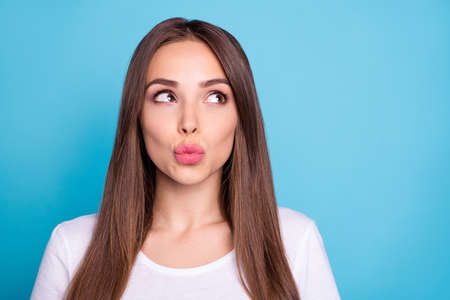 Close-up portrait of her she nice-looking attractive lovely lovable pensive straight-haired lady sending kiss isolated over bright vivid shine blue green teal turquoise background