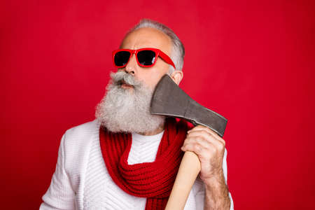 Close-up portrait of his he nice attractive handsome content virile masculine gray-haired man macho in pullover sweater pretending shaving razor ax isolated on bright vivid shine red background