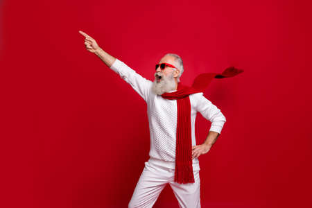 Santa character aged man shouting congratulations to everybody wear warm clothes isolated red background