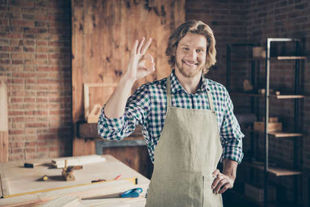 Portrait of his he nice attractive handsome cheerful cheery guy small business shop owner showing ok-sign recommend at industrial brick loft style interior indoors workplace Фото со стока