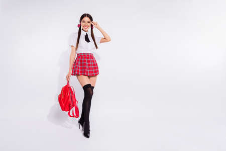 Full length body size photo beautiful she her lady long hair coquette eyewear eyeglasses hold arm hand glamour bag classroom wear red checkered plaid suit pantyhose tie isolated white background Zdjęcie Seryjne