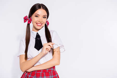 Close up photo amazing attractive she her lady long hair tails prepare naughty role play surprise boyfriend husband toothy smiling hold hand arm specs wear red plaid suit tie isolated white background 写真素材